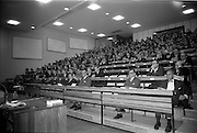 """25/03/1966<br /> 03/25/1966<br /> 25 March 1966<br /> Shock Symposium at UCD, Belfield, Dublin. The symposium on medical """"Shock"""" sponsored by Pharmacia International was held at the Department of Science at U.C.D.. Over 250 attended the symposium that was presided over by Prof. P. FitzGerald M.D., M.Ch., M.Sc F.R.C.S.I.. Picture shows a general view of the audience."""