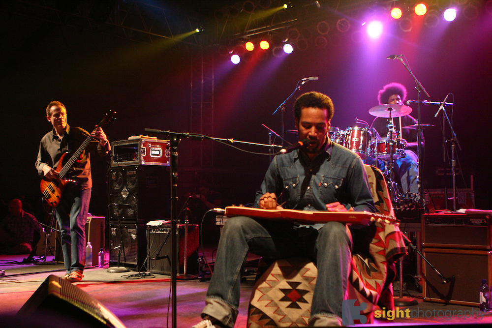 The 2007 Bonnaroo SuperJam featuring John Paul Jones, Ben Harper, and ?uestlove performs during the second day of the 2007 Bonnaroo Music & Arts Festival on June 15, 2007 in Manchester, Tennessee. The four-day music festival features a variety of musical acts, arts and comedians.<br /> Photo by Bryan Rinnert.