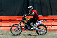 """Jul 01, 2003; Anaheim, California, USA; Moto X star athlete MIKE METZGER riding his motorbike at the opening of Disney's California Adventure """"X Games Experience"""".  Disney park has built two X-Arena's specifically for this 41 day event highlighting extreme sports for the launch of the 2003 ESPN X Games.<br />Mandatory Credit: Photo by Shelly Castellano/Icon SMI<br />(©) Copyright 2003 by Shelly Castellano"""