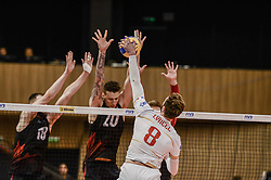 June 17, 2018 - Varna, Bulgaria - Julien Lyneel, France, play the ball against Canada, during Mens Volleyball Nations League, VNL, match between France and Canada at Palace of Culture and Sport in Varna, Bulgaria on June 17, 2018  (Credit Image: © Hristo Rusev/NurPhoto via ZUMA Press)