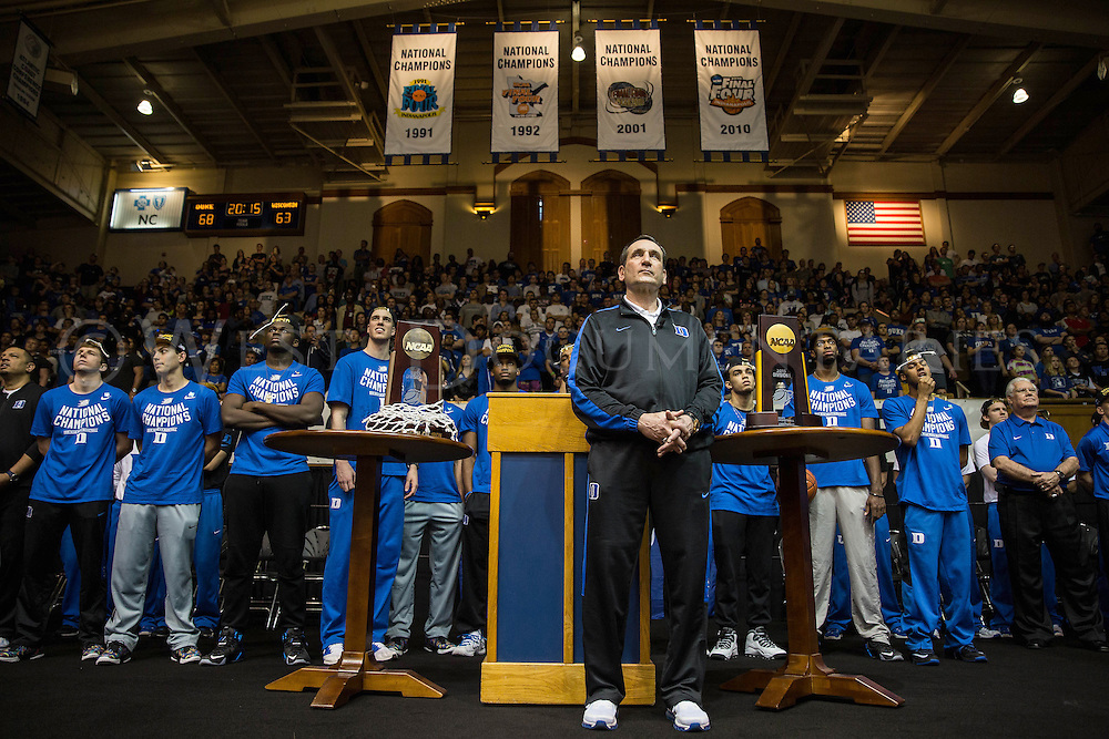2015 NCAA Men's Basketball National Champions, the Duke Blue Devils, take the stage for their welcome home rally, which was held at Cameron Indoor Stadium, April 7.