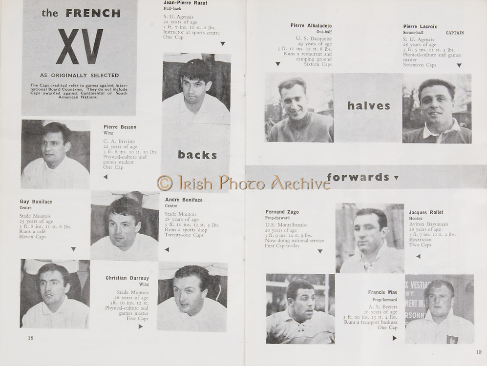 Irish Rugby Football Union, Ireland v France, Five Nations, Landsdowne Road, Dublin, Ireland, Saturday 26th January, 1963,.26.1.1963, 1.26.1963,..Referee- F G Price, Welsh Rugby Union, ..Score- Ireland 5 - 24 France, ..Irish Team, ..T J Kiernan,  Wearing number 15 Irish jersey, Captain of the Irish team, Full Back, University college Cork Football Club, Cork, Ireland,  ..W R Hunter, Wearing number 14 Irish jersey, Right Wing, C I Y M S Rugby Football Club, Belfast, Northern Ireland, ..A C Pedlow, Wearing number 13 Irish jersey, Right Centre,  C I Y M S Rugby Football Club, Belfast, Northern Ireland, ..A J O'Reilly, Wearing number 12 Irish jersey, Left Centre, Old Belvedere Rugby Football Club, Dublin, Ireland,  ..P J Casey, Wearing number 11 Irish jersey, Left Wing, University College Dublin Rugby Football Club, Dublin, Ireland, ..J B Murray, Wearing number 10 Irish jersey, Stand Off, University College Dublin Rugby Football Club, Dublin, Ireland, ..J C Kelly, Wearing number 9 Irish jersey, Scrum Half, University College Dublin Rugby Football Club, Dublin, Ireland,..P J Dwyer, Wearing number 1 Irish jersey, Forward, University College Dublin Rugby Football Club, Dublin, Ireland, ..A R Dawson, Wearing number 2 Irish jersey, Forward, Wanderers Rugby Football Club, Dublin, Ireland, ..S Millar, Wearing number 3 Irish jersey, Forward, Ballymena Rugby Football Club, Antrim, Northern Ireland,..W A Mulcahy, Wearing number 4 Irish jersey, Forward, Bective Rangers Rugby Football Club, Dublin, Ireland,  ..W J McBride, Wearing number 5 Irish jersey, Forward, Ballymena Rugby Football Club, Antrim, Northern Ireland,..M D Kiely, Wearing number 6 Irish jersey, Forward, Landsdowne Rugby Football Club, Dublin, Ireland, ..C J Dick, Wearing number 8 Irish jersey, Forward, Ballymena Rugby Football Club, Antrim, Northern Ireland,..P J A O' Sullivan, Wearing  Number 7 Irish jersey, Forward, Galwegians Rugby Football Club, Galway, Ireland,..French Team, ..J P Razat, Wearing number 15 Frenc
