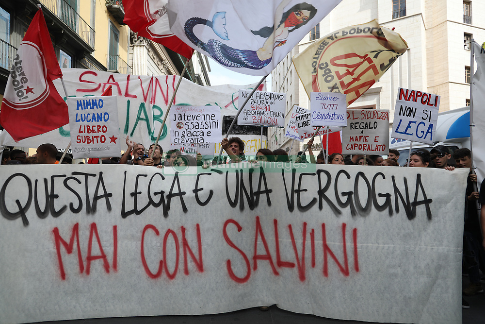 October 2, 2018 - Naples, Italy - A large group of protesters belonging to the social centers met in Via Toledo in Naples to protest against the presence of the minister of the Salvini in Naples today in the Prefecture for the Security Council. (Credit Image: © Fabio Sasso/ZUMA Wire)