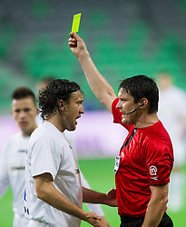 Bekim Kapic of Celje talks to referee Matej Jug during football match between NK Celje and NK Maribor in final of Hervis Cup 2011/12, on May 23, 2012 in SRC Stozice, Ljubljana, Slovenia. Maribor defeated Celje after penalty shots and became Slovenian Cup Champion. (Photo by Vid Ponikvar / Sportida.com)