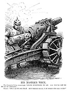"""His Master's Voice. The Kaiser (to Turkey, reassuringly). """"Leave everything to me. All you've got to do is explode."""" Turkey. """"Yes, I quite see that. But where shall I be when it's all over?"""" (Kaiser Wilhelm II loads an artillery gun with a Turkey shell during WW1)"""