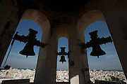 Panoramic city view from the top of the Western tower at the cathedral in Cadiz, Andalucía, Spain.