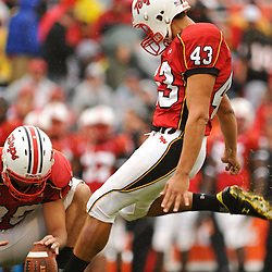 Sep 26, 2009; College Park, MD, USA; Maryland kicker Nick Ferrara (43) kicks a field goal during the first half of Rutgers' 34-13 victory over Maryland in NCAA college football at Byrd Stadium.
