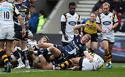 Sale's Mike Haley celebrates after Mark Jennings scores their fourth try during the Aviva Premiership match at the AJ Bell Stadium, Sale.