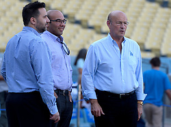 October 6, 2017 - Los Angeles, California, U.S. - Los Angeles Dodgers General Manager Farhan Zaidi, center, with owner Stan Kasten, right, prior to a National League Divisional Series baseball game against the Arizona Diamondbacks at Dodger Stadium on Friday, Oct. 06, 2017 in Los Angeles. (Photo by Keith Birmingham, Pasadena Star-News/SCNG) (Credit Image: © San Gabriel Valley Tribune via ZUMA Wire)