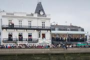Greater London. United Kingdom, Passing the Bus head Barnes.  University Boat Races , Cambridge University vs Oxford University. Putney to Mortlake,  Championship Course, River Thames, London. <br /> <br /> Saturday  24.03.18<br /> <br /> [Mandatory Credit  Intersport Images]