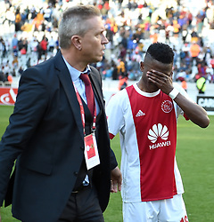 Cape Town-180512  Ajax Cape Town Rodrick Kabwe  in tears after losing 2-1 to Kaizer Chiefs in the last game of the PSL at Cape Town stadium.Ajax will now play the promotion /relegation play-offs. photographer:Phando Jikelo/African News Agency/ANA
