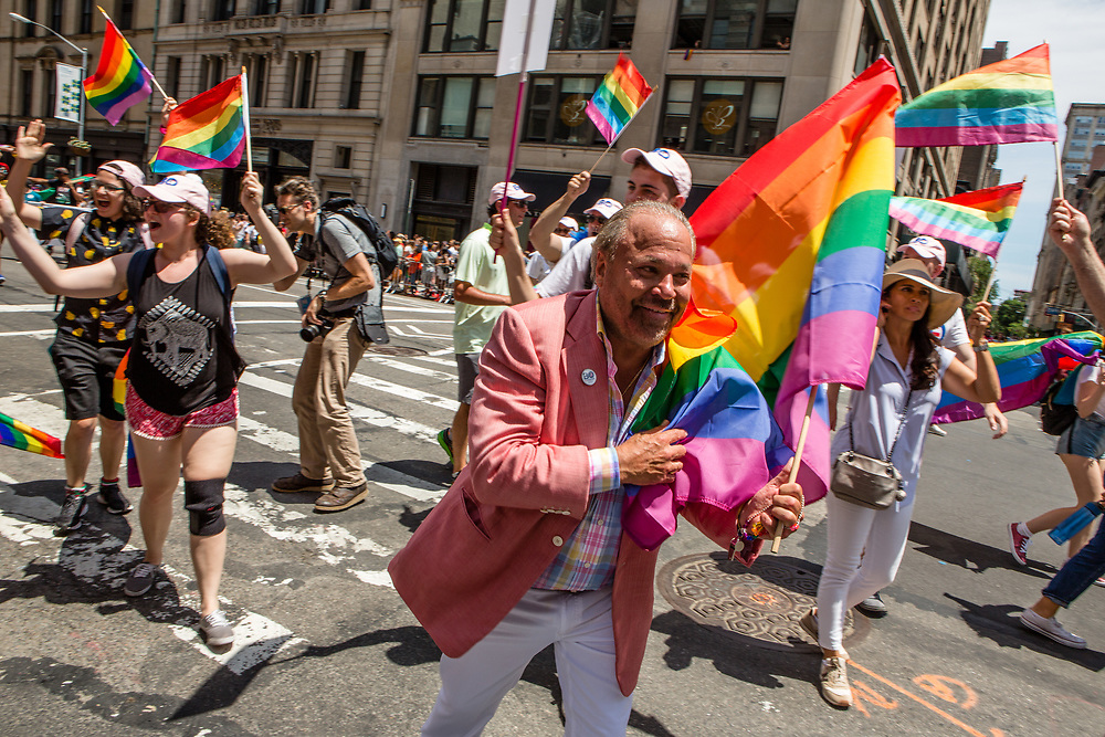 New York, NY - 25 June 2017. New York City Heritage of Pride March filled Fifth Avenue for hours with groups from the LGBT community and it's supporters. Former police officer and private investigator Bo Dietl, who plans a run for the mayor's office in New York City.