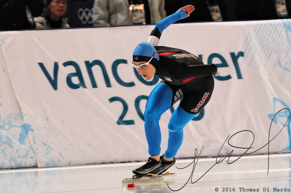February 17, 2009 - 2010 Winter Olympics - Speedskating - Jennifer Rodriguez competes in the 1000m distance held at the Richmond Olympic Oval.