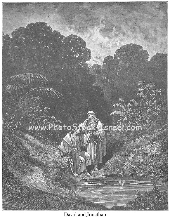 David and Jonathan 1 Samuel 20:42 From the book 'Bible Gallery' Illustrated by Gustave Dore with Memoir of Dore and Descriptive Letter-press by Talbot W. Chambers D.D. Published by Cassell & Company Limited in London and simultaneously by Mame in Tours, France in 1866
