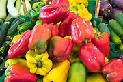 Bright colour red, green and yellow peppers - capsicum -  at Ballero street market for fresh vegetables and salads in Palermo, Sicily, Italy