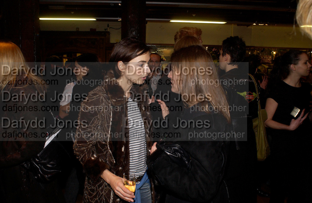 Francesca Amfiterof. Party hosted by Isabella Blow in honour of Shaun Leane to celebrate his jewelry collection. Liberty's. London. 8 December 2004. ONE TIME USE ONLY - DO NOT ARCHIVE  © Copyright Photograph by Dafydd Jones 66 Stockwell Park Rd. London SW9 0DA Tel 020 7733 0108 www.dafjones.com