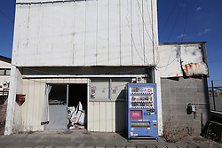 Picture taken on February 6, 2018 shows an abandoned vending machine in Fukushima prefecture.<br /> A massive earthquake on March 11, 2011 sent a tsunami into Japan's northeast coast, leaving more than 18,000 people dead or missing and causing Fukushima nuclear crisis, which made residents near the Daiichi power plant fled their homes and business. Photo by Farzaneh Khademian/ABACAPRESS.COM