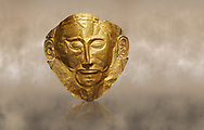 Mycenaean gold death mask, Mask of Agamemnon, Grave Cicle A, Mycenae, Greece.National Archaeological Museum of Athens. <br /> <br /> The mask from Grave V depicts an imposing face of a bearded man descovered by  Heinrich Schliemann who believed it was the body of Agamemnon, this is unproven to date.  The Mycenaean death mask belonged to a warrior and made of gold leaf it cocered the dead mans face held on by cord threaded tgrough the two sides of the mask.  The mask of Agamemnon was created from a single thick gold sheet, heated and hammered against a wooden background with the details chased on later with a sharp tool. The artifact dates from the 16th century BC. .<br /> <br /> If you prefer to buy from our ALAMY PHOTO LIBRARY  Collection visit : https://www.alamy.com/portfolio/paul-williams-funkystock/mycenaean-art-artefacts.html . Type -   Athens    - into the LOWER SEARCH WITHIN GALLERY box. Refine search by adding background colour, place, museum etc<br /> <br /> Visit our MYCENAEN ART PHOTO COLLECTIONS for more photos to download  as wall art prints https://funkystock.photoshelter.com/gallery-collection/Pictures-Images-of-Ancient-Mycenaean-Art-Artefacts-Archaeology-Sites/C0000xRC5WLQcbhQ