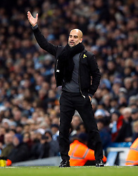 Manchester City manager Pep Guardiola during the Premier League match at the Etihad Stadium, Manchester.