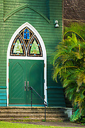 Door and palm at Waioli Huiia Church, Hanalei, Kauai, Hawaii USA