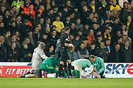 Queens Park Rangers forward Matt Smith (17) injured during The FA Cup 5th round match between Queens Park Rangers and Watford at the Loftus Road Stadium, London, England on 15 February 2019.