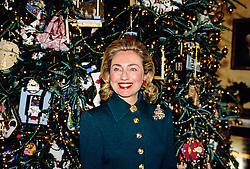 First lady Hillary Rodham Clinton speaks in front of the 1995 White House Christmas Tree in the Blue Room as she hosts a press event to preview the holiday decorations at the White House in Washington, D.C, USA, on December 4, 1995.Photo by Ron Sachs/CNP/ABACAPRESS.COM