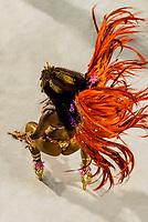 Samba dancer in the Carnaval parade of Paraiso do Tuiuti samba school in the Sambadrome, Rio de Janeiro, Brazil.