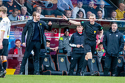 Dundee United's manager Robbie Neilson booked by ref Mike Roncone.  Dundee United 1 v 1 Partick Thistle, Scottish Championship game played 7/3/2020 at Dundee United's stadium Tannadice Park.
