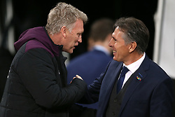 West ham United manager David Moyes and Leicester City manager Claude Puel shake hands before kick off