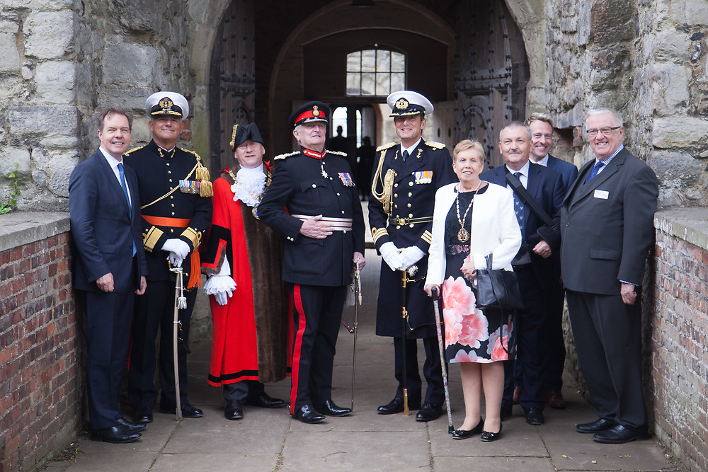 @Licensed to London News Pictures 08 06 2017. Chatham, Medway, Kent. The Royal Prins Maurits of the Netherlandwith local VIPs comemorating the Battle of Medway at Upnor Castle in Kent today. The Battle of Medway took place in 1667 when the Dutch launched a daring assault on the British upon the River Medway at Chatham destroying the whole fleet . Photo credit: Manu Palomeque/LNP
