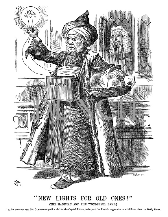 """""""New Lights for Old Ones!"""" (The magician and the wonderful lamp.) !A few evenings ago, Mr Gladstone paid a visit to the Crystal Palace, to inspect the electric apparatus on exhibition there. —Daily Paper."""