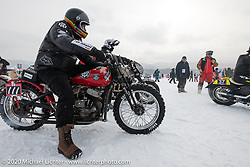 "Victor Dokuchaev on his 1942 WR 45"" Harley-Davidson Flathead racer at the Baikal Mile Ice Speed Festival. Maksimiha, Siberia, Russia. Thursday, February 27, 2020. Photography ©2020 Michael Lichter."