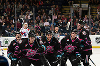KELOWNA, BC - SEPTEMBER 21:  Dillon Hamaliuk #22, Devin Steffler #4, Jake Lee #21, Liam Kindree #26 and Pavel Novak #11 of the Kelowna Rockets celebrate a goal against the Spokane Chiefs at Prospera Place on September 21, 2019 in Kelowna, Canada. (Photo by Marissa Baecker/Shoot the Breeze)