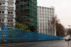 © Licensed to London News Pictures. 03/01/2015. London, UK. A general view of Stelfox House. Police have launched a murder investigation after two men were found dead following a suspicious house fire in Penton Rise in Islington, north London last night. Photo credit : Vickie Flores/LNP