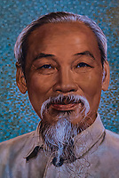 Portrait of Ho Chi Minh hanging in the Saigon Central Post Office, Ho Chi Minh City, Vietnam.