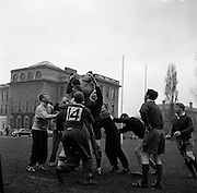 Scottish forward, F H ten Bos gathers ball from line out,..Irish Rugby Football Union, Ireland v Scotland, Five Nations, Scottish team practice at college park, Dublin, Ireland, Friday 23rd February, 1962,.23.2.1962, 2.23.1962,..  Scottish Team, ..K J F Scotland, Wearing number 15 Scottish jersey,  Full Back, Leicester Rugby Football Club, Leicester, England, ..R C Cowan, Wearing number 11 Scottish jersey,  Left Wing, Selkirk Rugby Football Club, Selkirk, Scotland, ..I H P Laughland, Wearing number 12 Scottish jersey, Left Centre, London Scottish Rugby Football Club, Surrey, England, ..J J McPartlin, Wearing number 13 Scottish jersey,  Right Centre, Oxford University Rugby Football Club, Oxford, England,..A R Smith, Wearing number 14 Scottish jersey, Captain of the Irish team,  Right Wing, Edinburgh University Rugby Football Club, Edinburgh, Scotland, ..G H Waddell, Wearing number 10 Scottish jersey,  Stand Off, London Scottish Rugby Football Club, Surrey, England, ..S Coughtrie, Wearing number 9 Scottish jersey,  Scrum Half, Edinburgh Academical Rugby Football Club, Edinburgh, Scotland, ..H F McLeod, Wearing number 1 Scottish jersey,  Forward,  Hawick Rugby Football Club, Hawick, Scotland, ..N S Bruce, Wearing number 2 Scottish jersey,  Forward, London Scottish Rugby Football Club, Surrey, England, ..R Steven , Wearing number 3 Scottish jersey, Forward, Edinburgh Wanderers Rugby Football Club, Edinburgh, Scotland, ..F H ten Bos, Wearing number 4 Scottish jersey,  Forward, London Scottish Rugby Football Club, Surrey, England, ..M J Campbell-Lamberton, Wearing number 5 Scottish jersey, Forward, Halifax Rugby Football Club, Yorkshire, England, ..R J C Glasgow, Wearing number 6 Scottish jersey,  Forward, Dunfermline Rugby Football Club, Fife, Scotland, ..J Douglas, Wearing number 8 Scottish jersey, Forward, Stewarts College Rugby Football Club, Edinburgh, Scotland, ..K I Ross, Wearing number 7 Scottish jersey, Forward, Boroughmuir Rugby Football Club, Edinburgh, Scotla