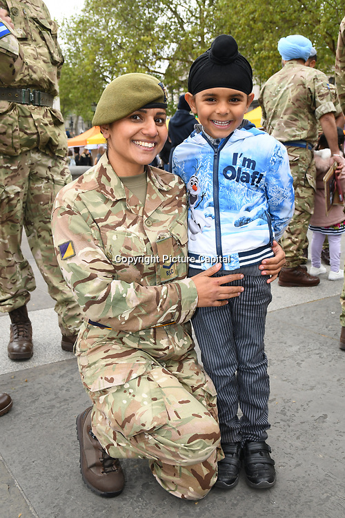 London, England, UK. 27 April 2019. Sikh's soldiers attend at Vaisakhi Festival is a Sikh New Year in Trafalgar Square, London, UK.