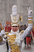 Moscow, Russia, 13/03/2005..Russians in Moscow celebrate the  final day of Maslenitsa, or Pancake Week, a Russian holiday which dates back to pagan times and marks the official end of winter. A marching band leads the Maslenitsa parade through central Moscow in a spring snow blizzard.