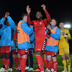 TELFORD COPYRIGHT MIKE SHERIDAN 12/1/2019 - Amari Morgan Smith of AFC Telford(centre) and Telford players celebrate at full time during the Vanarama Conference North fixture between AFC Telford United and Hartlepool United at the Super Six Stadium.