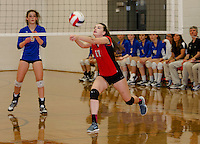 Laconia's Abby Crowell bumps the ball during Wednesday night NHIAA Division II Volleyball with Gilford.  (Karen Bobotas/for the Laconia Daily Sun)