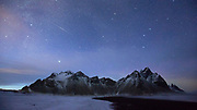 The Milky Way comes into view over Vestrahorn in south-east Iceland