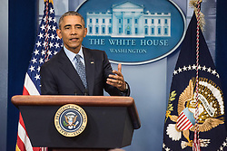 Jan 18, 2017 - Washington, District of Columbia, U.S. - President BARACK OBAMA gives his final press conference in the James Brady briefing room of the White House. Obama defended his decision to release Army Private Chelsea Manning from prison early. (Credit Image: © Ken Cedeno via ZUMA Wire)