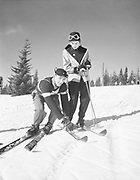 "Ackroyd 00009-26. ""Jay Cee Ski School. Summit Multorpor. January 18, 1948"" Mt. Hood, Oregon."