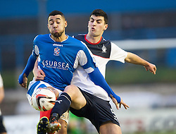 Cowdenbeath's Kane Hemmings and Falkirk's Jonathan Flynn.<br /> half time : Cowdenbeath 0 v 0 Falkirk, Scottish Championship game today at Central Park, the home ground of Cowdenbeath Football Club.<br /> © Michael Schofield.