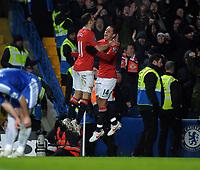 Javier Hernandez Celebrates Scoring 3rd goal with team mate Ryan Giggs<br />Manchester United 2011/12<br />Chelsea V Manchester United (3-3) 05/02/12<br />The Premier League<br />Photo: Robin Parker Fotosports International