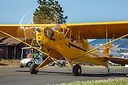 Piper J3 Cub running up at 2014 Hood River Fly-In at WAAAM.