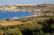 View to Mellieha Bay resort and town, Marfa peninsula, Malta