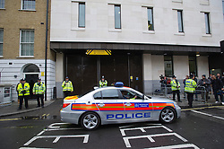 © London News Pictures. 30/05/2013. London, UK.  Police outside Westminster magistrates court in London where Michael Adebowale is due to appear after being charged with the murder of soldier Lee Rigby in south-east London last week. A second man accused of murder, Michael Adebolajo, remains under arrest at a London hospital. Photo credit: Ben Cawthra/LNP