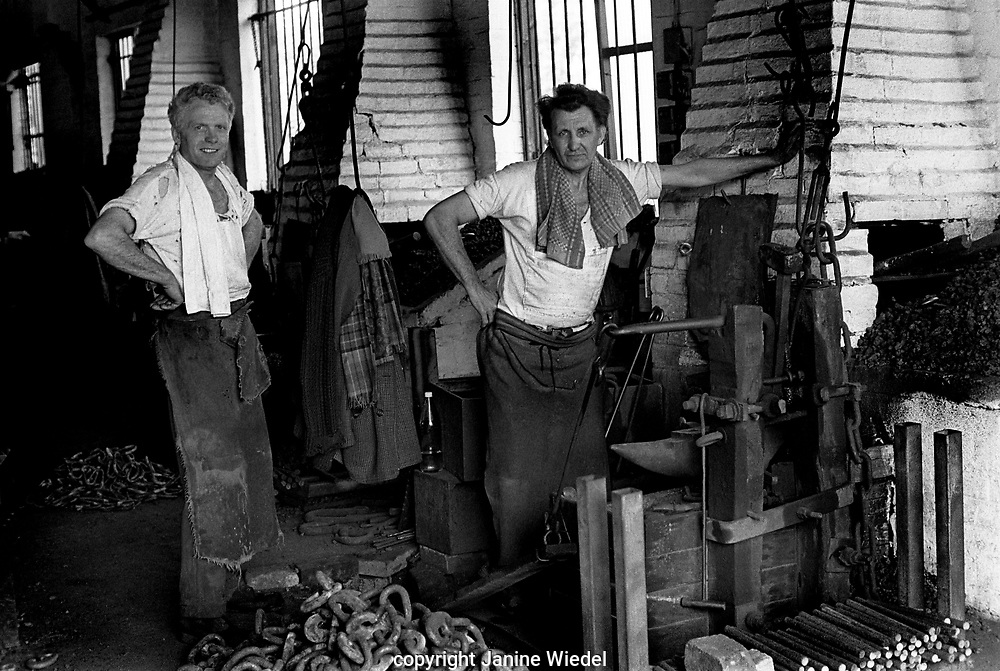 Clarrie Johnson and Eric Attwood were the 2 remaining hand chainmakers (making chain in traditional method) at Barzillai Hingley in The Black Country, West Midlands  UK in 1977.