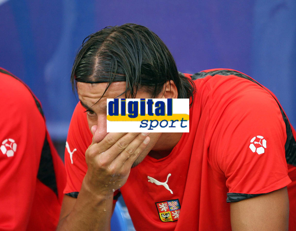 Photo: Chris Ratcliffe.<br /> USA v Czech Republic. Group E, FIFA World Cup 2006. 12/06/2006.<br /> Milan Baros of Czech Republic crying on the bench after not being picked.